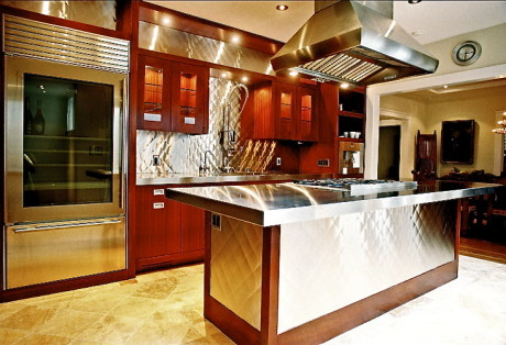 Mahogany and Stainless Steele Custom Cabinetry Marina San Francisco