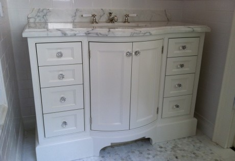 curved bath vanity and closet custom