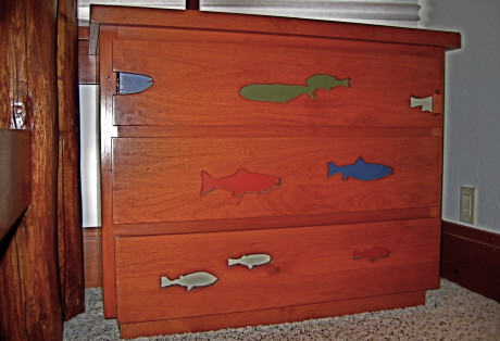 custom routed trout in bunk and dressor